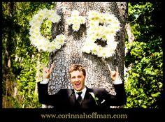 flower initials for wedding ceremony - Palm Valley Gardens, Ponte Vedra www.corinnahoffman.com