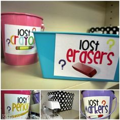 responsibility in a bucket {kind of} - I love the idea of having a lost and found for school supplies!