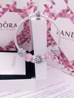 50% OFF!!! $199 Pandora Charm Bracelet White Pink. Hot Sale!!! SKU: CB02104…