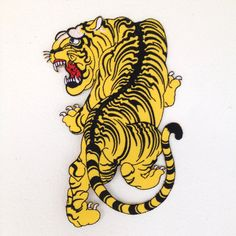 Bengal Tiger Tattoo Style Iron-on embroidered back by LanstangShop