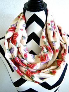 Spring Bouquet Infinity Scarf by SewBirdiful on Etsy, $12.99