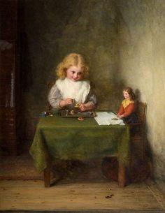 The Tête-à-Tête Tea ~ George Bernard O'Neill ~ (Irish: 1828-1917). with a doll