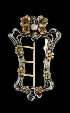 Art Nouveau Belt Buckle. Design attributed to Louis Chalon. Gold, silver, enamel.