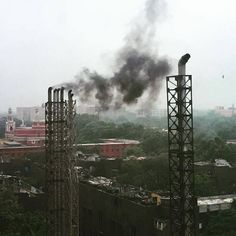 When a nation lacks fossil fuels and electricity is patchy diesel generators fill in the gap. They spew massive smoke clouds over central Delhi. Tackling #climatechange in India is a complex challenge. by gaya333 #Connaught_place #Delhi #IncredibleIndia