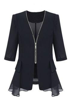 Zippered Ruffled Flounce Cropped Sleeves Coat, The Latest Street Fashion!