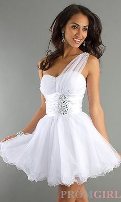 One Shoulder Tulle Baby Doll Dress at PromGirl.com