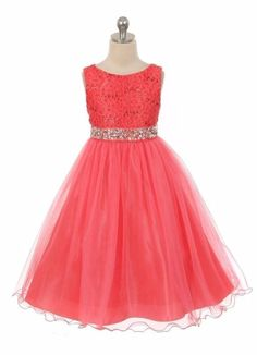 New Coral Flower Girl Lace Dress Wedding Pageant Christmas Birthday Easter Party #MyBestKids #DressyHolidayPageantWedding