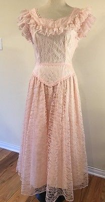 True-Vintage-60-039-s-Pink-Lace-Party-Dress-Junior-SZ-11-12
