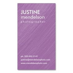 Purple Vintage Camera Photography Business Cards