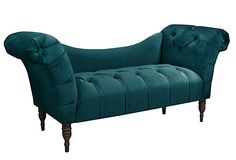 Cameron Tufted Chaise, Peacock on OneKingsLane.com  -- a little more ornate than I usually like, but the color and shape are wonderful.  $649.00