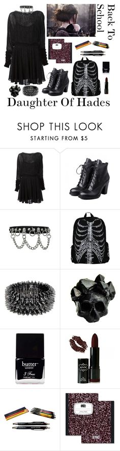 """""""Daughter Of Hades: Back To School"""" by vampirliebling ❤ liked on Polyvore featuring Zac Posen, Luxury Fashion, Macabre Gadgets, Butter London and NYX"""