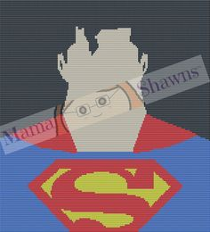 Superman Face - Written Pattern, Crochet Pattern, Graphghan, Clark Kent, Super Hero, Gotham, Man of Steel by MamaShawns on Etsy