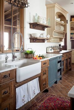 Rustic country kitchen farmhouse kitchen country rustic sink tile in a running bond application touch free faucet inspiration shop room ideas rustic french Kitchen Remodel, New Kitchen, Rustic Kitchen Cabinets, Rustic Sink, Kitchen Style, Kitchen Renovation, Kitchen Sink Design, Trendy Farmhouse Kitchen, Kitchen Design