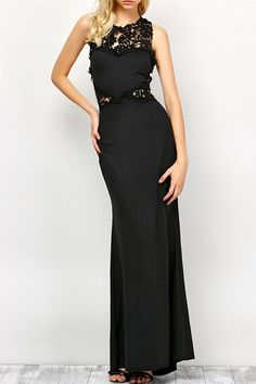 $19.21 Sleeveless Lace Panel Evening Dress - Black