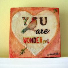 You are Wonderful original encaustic painting by Cathy Nichols #bird