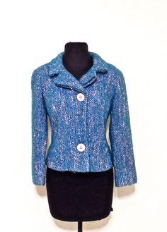 vintage tweed jacket - 1940s blue/pink wool tweed blazer by mkmack on Etsy