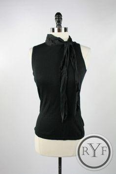 BANANA REPUBLIC Black CASHMERE SILK BLEND Tie Neck SHIRT Top Blouse M