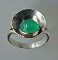 NEILS ERIK FROM 1908-1986 Modernist Ring Silver Chalcedony Origin Danish, c. 1955 Marks Sterling, Denmark NE FROM 925 S