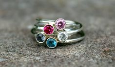 Gemstone Stacking Ring, Birthstone Ring, Mothers Ring by galwaydesigns on Etsy