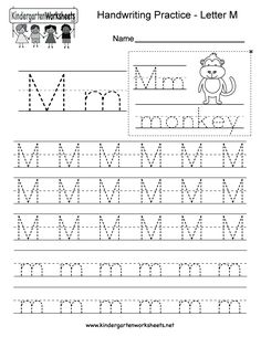 Kindergarten Letter M Writing Practice Worksheet. This series of handwriting alphabet worksheets can also be cut out to make an original alphabet booklet. Alphabet Writing Worksheets, Kindergarten Writing Activities, English Worksheets For Kindergarten, Letter Worksheets For Preschool, Handwriting Practice Worksheets, Handwriting Alphabet, Tracing Worksheets, Alphabet Tracing, Cursive