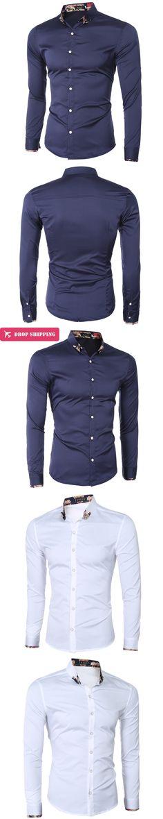 2017 Summer fashion slim fit shirt men long sleeve solid navy men's dress shirts formal business men shirts brand clothing D035