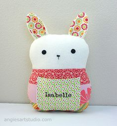 Personalized Patchwork Bunny Tooth Fairy Pillow by angiebabygifts, $34.00