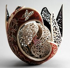 """This is so beautiful and incredible; it is not easy working with wood """"Romeo"""" carved and turned beech wood by Joey Richardson - via www.woodturner.org"""