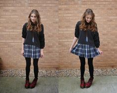 Topshop Sweater, American Apparel Skirt, Dr. Martens Boots