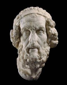 Marble pseudo-portait of Homer. Roman. Late Republican or Imperial Period. late 1st century B.C. or 1st century A.D.   Museum of Fine Arts, Boston