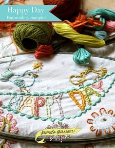 Happy Day Embroidery Pattern PDF by pamg on Etsy, $4.95 @Becky Gilbert - this would match your towels!