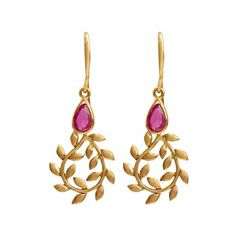 Nature comes beckoning again in this gorgeously interpreted pair of drop earrings. Handcrafted 18K Gold vines with leaves lovingly hold a faceted ruby teardrop that is evocative of a luscious fruit or a delicate bud.