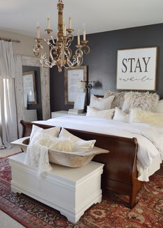 45 Inspiring Modern Farmhouse Bedroom Decor Ideas - Decorating your bedroom with white bedroom furniture has so many benefits that I don't see why anyone wouldn't, at the least consider, using this furn. Modern Farmhouse Bedroom, French Country Bedrooms, Country Farmhouse Decor, Farmhouse Style, Modern Bedrooms, Guest Bedrooms, Master Bedrooms, French Master Bedroom, Country Master Bedroom