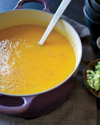 Winter Squash Soup with Roasted Pumpkin Seeds // More Warming Soups: http://www.foodandwine.com/slideshows/warming-soups #halloween #foodandwine