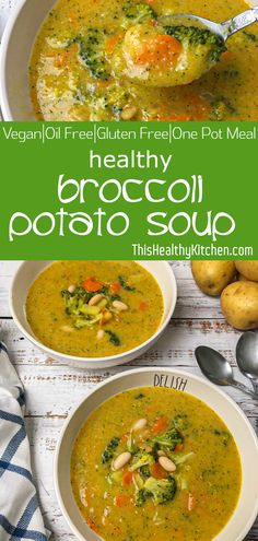 Broccoli potato soup is a little creamy a little chunky and a lot of delicious. This tasty soup recipe is warming nourishing and 100 wholesome. Broccoli Potato Soup, Broccoli Soup Recipes, Healthy Soup Recipes, Whole Food Recipes, Cooking Recipes, Healthy Broccoli Soup, Healthy Potato Soup, Brocoli Soup, Kale Soup