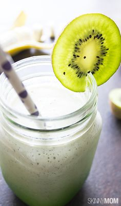 If you love kiwi and banana, you will LOVE this protein smoothie.