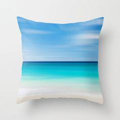 Coastal Decor Throw Pillow Beach Cottage Living Room Teal Turquoise Aqua Beige White Nautical Decor Tropical Beach Abstract Photo Pillow