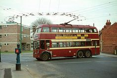 ##Double-deck trolleybus in Reading, England, 1966