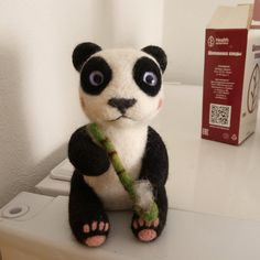 Needle felted panda, panda toy, cute panda, animal sculpture, wool felt animal, black and white panda, panda with bamboo, panda bear