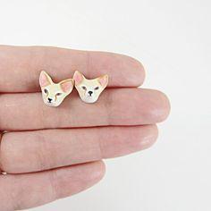 fennec fox post earrings by HandyMaiden on Etsy, $28.00