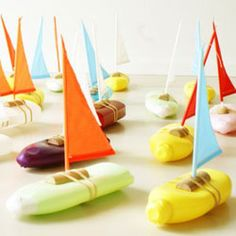 Cute toy boats by Florish Hovers for the lake or bathtime made out of recycled shampoo bottles.