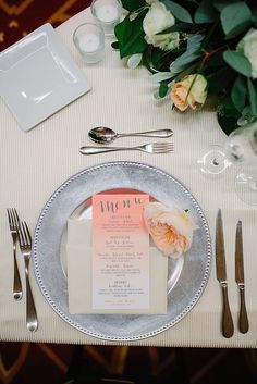 Wedding place setting idea with silver charger plate coral watercolor menu and a single peony   San Diego Wedding Collective   The Best Vendors In Southern ... & 10 Strawberry Street LAS-12SQ 12\
