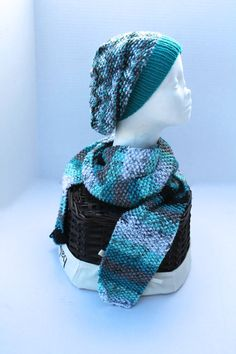 Knit Slouchy Beanie Hat with Scarf  Adult or by SnuggableStitches