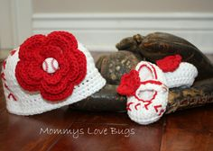 Girls Baseball Crochet Beanie and Booties Set  by MommysLoveBugs, $37.00