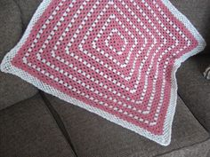 Crocheted Baby Blanket / Afghan Granny Square Peony Pink