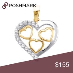 10k Yellow Gold 💎 Love ❤️ Pendant 1/5 Cttw 10k Yellow Gold Round Natural Diamond Womens 2-tone Heart Love Valentines Fashion Pendant 1/5 Cttw  Product Specification Gold Purity & Color10kt Yellow Gold Diamond Carat1/5 Ct.t.w. Diamond Clarity / ColorI2-I3 / J-K Length16 mm ( .63 inches ) Width18 mm ( .71 inches ) Gram Weight1.16 grams (approx.) StyleHearts & Love Item NumberLarimaro/48348 Jewelry