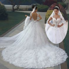 Cheap dress wedding gown, Buy Quality gown boutique directly from China gowns for big women Suppliers: 2017 Luxury Princess Ball Gown Wedding Dresses vestido de noiva de renda 3D Floral Lace Applique Royal Train Bridal Gowns Arbric