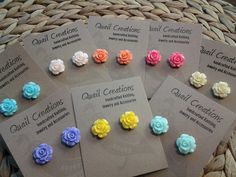 Summer Tea Rose Flower Earrings - Resin Cabochon Gift made in Canada - $6