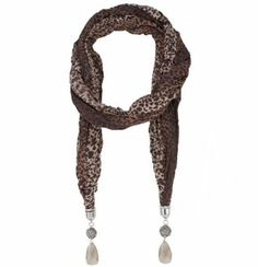Trendy Lightweight Ombre Leopard Print Bejeweled Bead Rose and Embellished Crystal Jewel Scarf Bucasi. $12.95