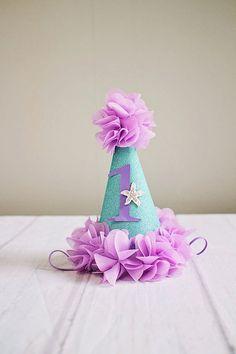 Under the Sea 1st Birthday Hat...Lavender Aqua First Birthday Hat..Baby  Girl 1st Birthday..3rd birthday .2nd Birthday hat 5316b46e5b29