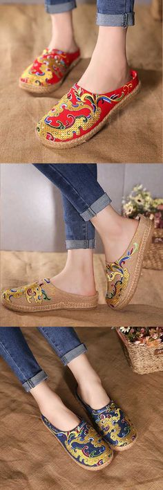 US$24.98 + Free shipping. Embroidery shoes, slip-on shoes, flat slipper shoes, casual slipper, outdoor slipper, casual shoes.
